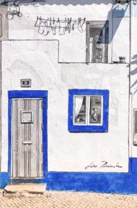 casa disegnata da artista bianca e blu